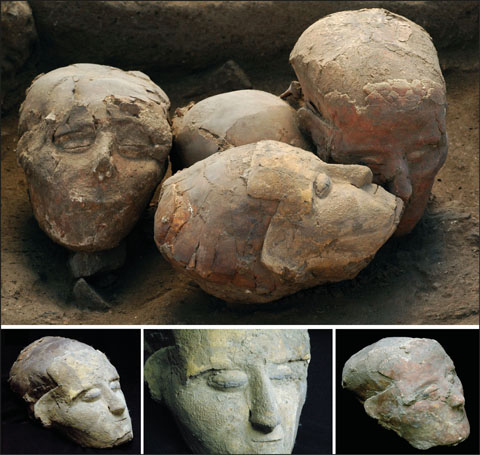 Plastered skulls from Tell Aswad, late phase (area D).